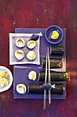 Vegetarian sushi with cucumber, avocado, pumpkin and cream cheese