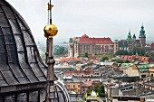 View of Krakow's Main Market and Marienkirche Palace of Culture, Poland