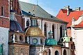 View of domes of Wawel Royal Castle in Krakow, Poland