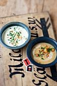 Cheese soup and chanterelle mushroom soup (Austria)