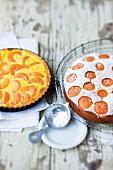Yellow plum tart and a yellow plum cake