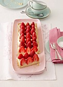A strawberry tart with vanilla cream