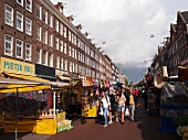 People strolling at Albert Cuyp Market in De Pijp, Amsterdam, Netherlands