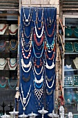 Different jewellery displayed in a shop at market, Egypt