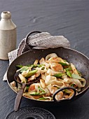 Stir-fried asparagus with rice noodles and chicken breast