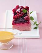 Berry yogurt parfait with vanilla sabayon