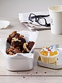 Brownies with walnuts and carrot muffins with coconut
