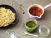 Spaghetti carbonara, arrabibata sauce and pesto
