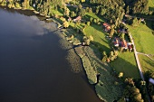 Krottenmuhl near Simssee lake in Bavaria, Germany, Aerial view