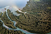 Tiroler Ache river in Chiemgau, Bavaria, Germany, Aerial view