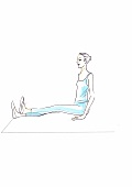 Illustration, Gymnastik, Übung, Oberschenkel, Frau, sitzt, Boden