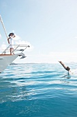 Frau, Yacht, Wasser, Sprung, Mann, Schiff, Boot, Urlaub, Bug