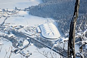 View of Max Aicher Arena in winter in Inzell, Traunstein, Bavaria, Germany