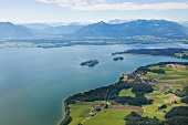Aerial view of Mrs. Island, Alps, Gstadt and Chiemsee at Chiemgau, Bavaria, Germany