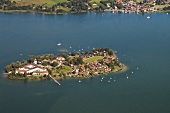 Aerial view of Gstadt am Chiemsee, Bavaria, Germany