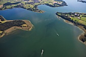 Aerial view of Herrenchiemsee and Gstadt am Chiemsee at Bavaria, Germany