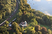 Aerial view of railway track Simssee at Krottenmuhl, Chiemgau, Bavaria, Germany