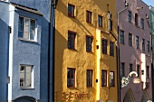 Blue, yellow and pink building in Wasserburg am Inn in Rosenheim, Bavaria, Germany