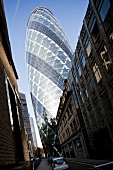 Low angle view of Cucumber building in London, UK