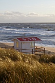 View of lifeguard house on beach of Rantum, Sylt, Germany