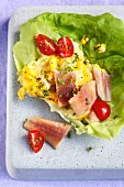 Herb scrambled egg with trout