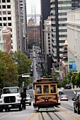 Busy street with tram in San Francisco, California