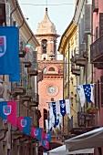 Historical flags near Via Vittorio Emanuele II, Alba in Italy