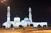View of Sultan Qaboos grand mosque at dusk, Oman