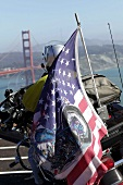 Motorcyclists with USA Flag in San Francisco, California, USA