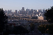 View of City space with skyline at morning in San Francisco, California, USA