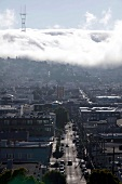Elevated view of city and clouds in sky, San Francisco, California, USA