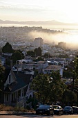 View of Mission District cityscape with morning mist in San Francisco, California, USA