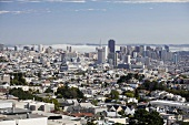 View of cityscape and skyline with clouds in San Francisco, California, USA