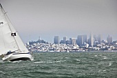 View of city with sailing boat, San Francisco, California, USA