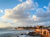 View of Mediterranean sea and Bastioni Cristoforo Colombo at Alghero, Sardinia, Italy