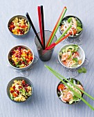 Party salads: millet salad, and glass noodle salad with prawns