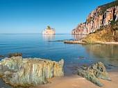 View of southwest coast of Mediterranean Sea in Sardinia, Italy