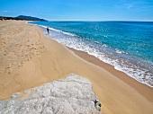 View of beach in Costa Verde, Sardinia