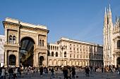 Entrance of Galleria Vittorio Emanuele II in Piazza del Duomo in Milan, Italy
