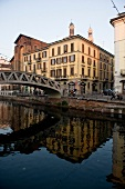 Navigli canal and bridge with building in Milan, Italy