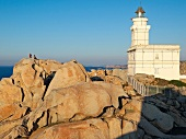 Lighthouse and rock formation in Capo Testa island in Sardinia, Italy