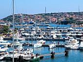 Boats moored at Porto Cervo Harbour, Costa Smeralda, Sardinia, Italy