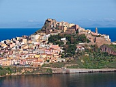 View of Castelsardo and Mediterranean sea in Sardinia, Italy