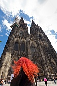 View of Cathedral Roncalli tower in Cologne, Germany, low angle view
