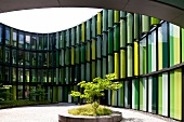 View of Oval Office complex with green panels in Bayenthal, Cologne, Germany