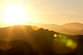 View of country side hills at sunrise, France