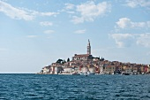 View of sea overlooking old town of Rovinj, Istria, Croatia