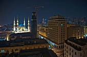 View of illuminated Mohammad Al-Amin Mosque at night in Martyrs' Square, Beirut, Lebanon