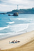 Bucht, Biarritz, Strand, Meer, Leuchtturm, sonnig, Wellen
