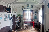 Messy workplace in boat house, Laugharne, Carmarthenshire, Wales, UK